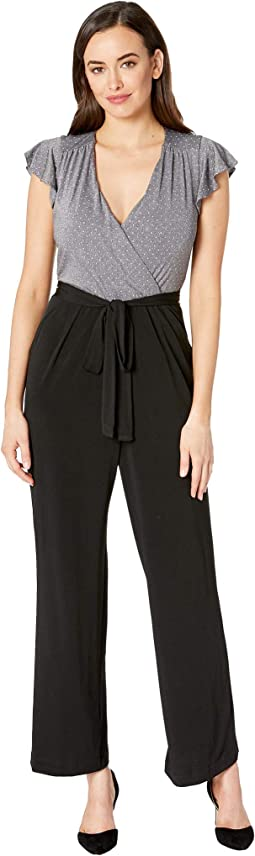 Flutter Sleeve Metallic Dot Bodice Jersey Jumpsuit