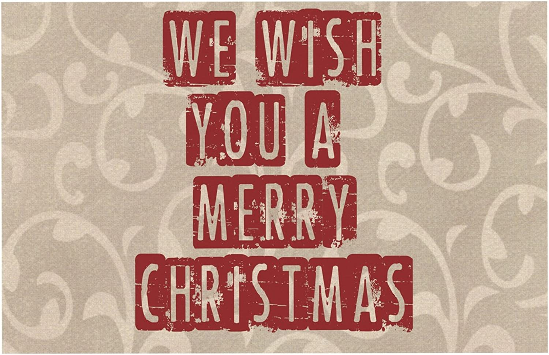KESS InHouse SC1065ADM02 Sylvia Cook We Wish You A Merry Christmas Holiday Dog Place Mat, 24  x 15