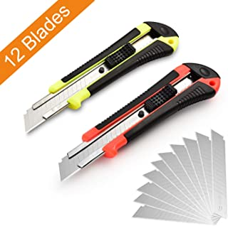 Retractable Utility Knife, Box Cutter, 12 Blades, Premium Rubbered Handle, Wide Razor, Smooth Mechanism, Office and Home use, for Cartons/Rope/Cable Ties/Handcraft, Random Color, by Lambery