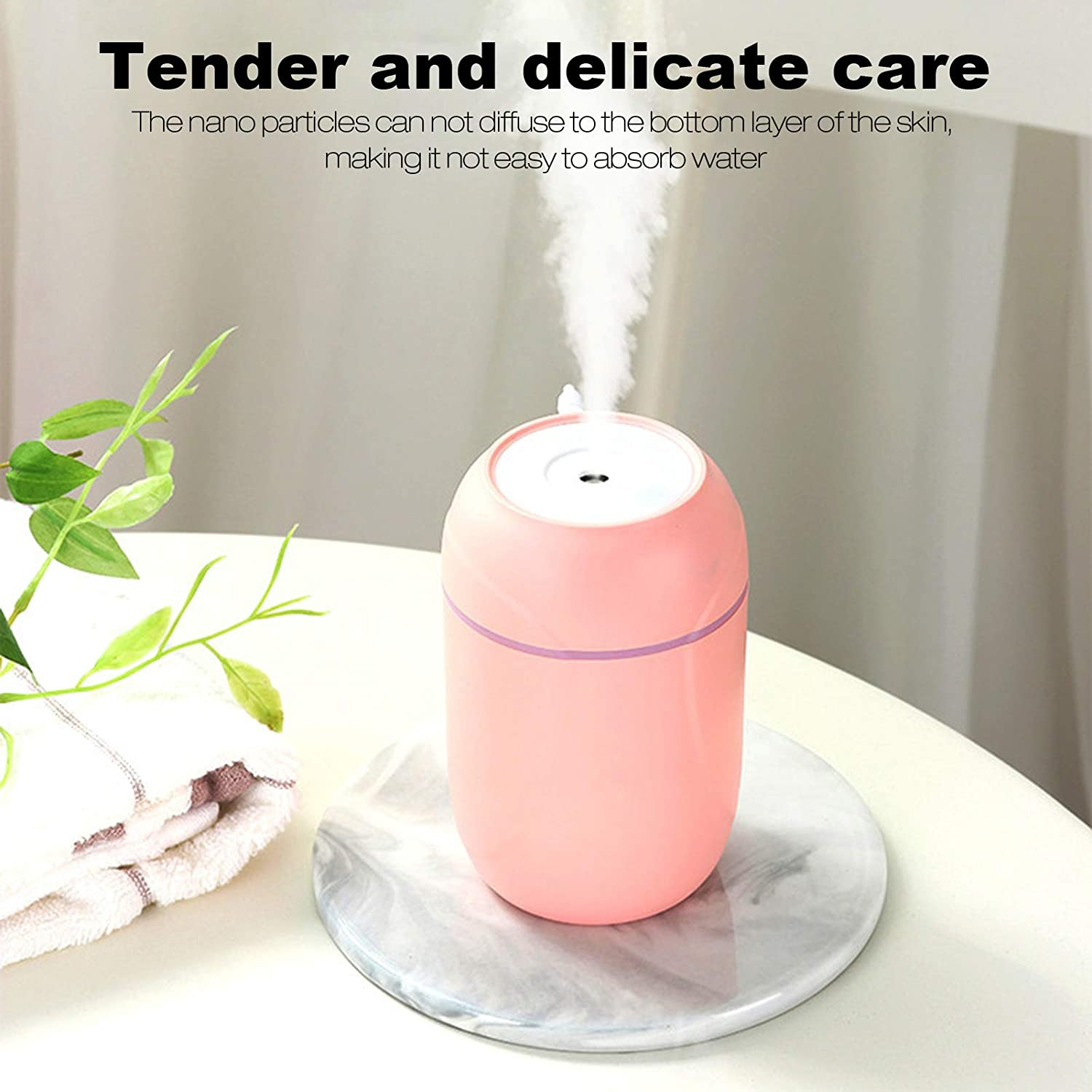 VISLONE 260ML Mini Air Humidifier Colorful Night Light Desktop Portable Aroma Essential Oil Diffuser Mist Maker for Car Home Office Use Bedroom