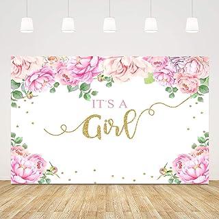 Fotohintergrund für Babyparty, Blumenmuster, Rosa, Rose, 5X3ft