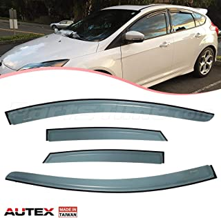 AUTEX 4Pcs Tape On Side Window Deflector Compatible with Ford Focus 2012 2013 2014 2015 2016 2017 2018 Rain Guards Window Visor