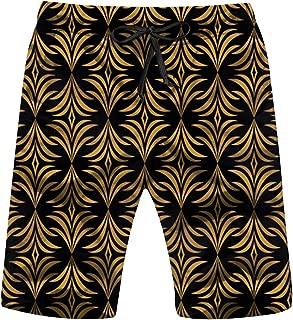 Classic Golden Floral Art Nouveau Mens Beach Pants 3D Printed Casual Fashion Adjustable Beach Board Shorts