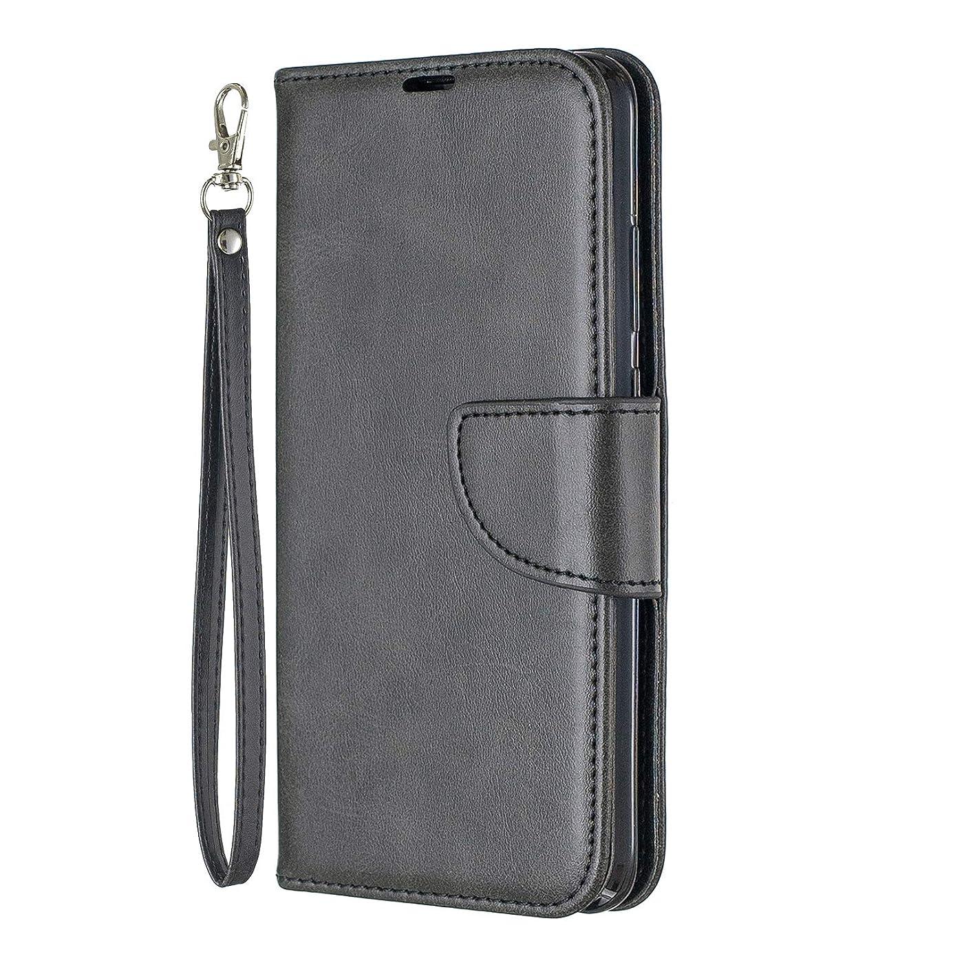適合する山有効Lomogo Huawei nova lite 3 ケース 手帳型 耐衝撃 レザーケース 財布型 カードポケット スタンド機能 マグネット式 ファーウェイnovalite3 手帳型ケース カバー 人気 - LOBFE150313 黒