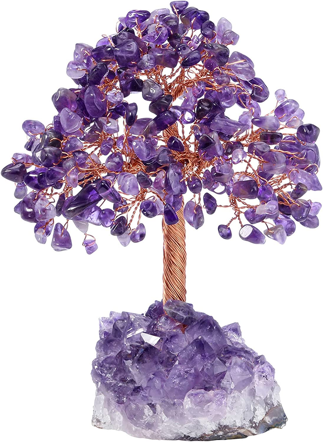Top Plaza Amethyst Crystals Tree Healing Crystal Stones Wrapped on Natural Raw Amethyst Cluster Base Copper Money Tree Decor Home Indoor Office Desk Decoration