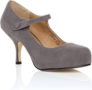 7f069696a NEW WOMENS LADIES STRAP MID HEEL CASUAL SMART WORK PUMP COURT SHOES SIZE 3-8