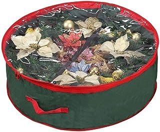 Primode Supreme - Bolsa de almacenamiento para corona de Navidad (poliéster, ventana transparente, para coronas de 30