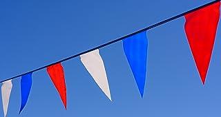 田径旗帜。 彩色红色、白色和蓝色三角裤。 长 100 英尺。 持久耐用。 超值。 5 年质保。
