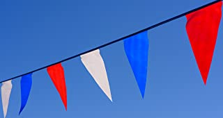 Track & Field Flags. Colorful red, White, and Blue pennants. 100 feet in Length. Long Lasting Durability. A Great Value. 5 Year Warranty.