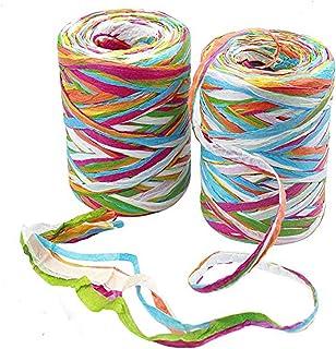 2 rollos cinta de Rafia de color de 80 m de papel de rafia cintas de cinta de embalaje de hilo de embalaje para envolver r...