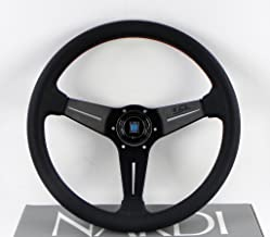 Nardi Steering Wheel - Deep Corn - 350mm (13.78 inches) - Black Perforated Leather with Red Stitching - Classic Horn Butto...