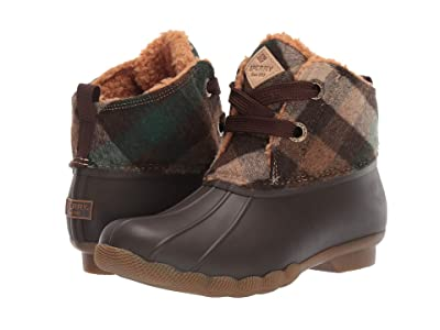 Sperry Saltwater 2-Eye Plaid Wool (Brown/Green) Women