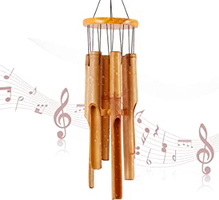 DateDirect Bamboo Wind Chimes Memorial Gifts - Wood Wind Chime - Large Indoor Outdoor Wooden - 32