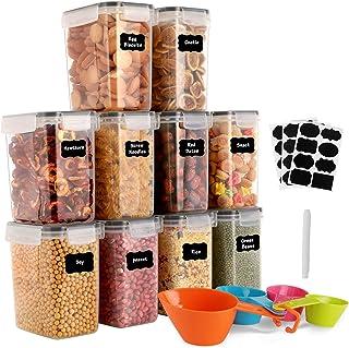 GoMaihe 1.6L Boite de Rangement Cuisine Lot de 10, Bocaux Hermetiques Alimentaires en Plastique Scellée avec Couvercle, po...