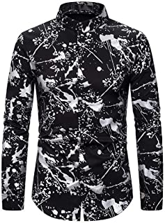 WSPLYSPJY Mens Lapel Button Slim Fit Pattern Blouses Long Sleeve Fashions Tops Casual T Shirt