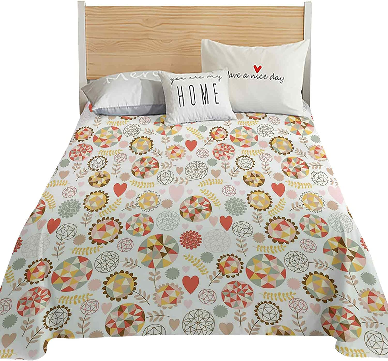 Floral King Size Flat Sheet Only with Blooms Geometric Ranking TOP9 Style Po Max 79% OFF