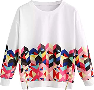 Women's Plus Size Feather Print Round Neck Long Sleeve Sweatshirt Pullover Sweater Tops Blouse