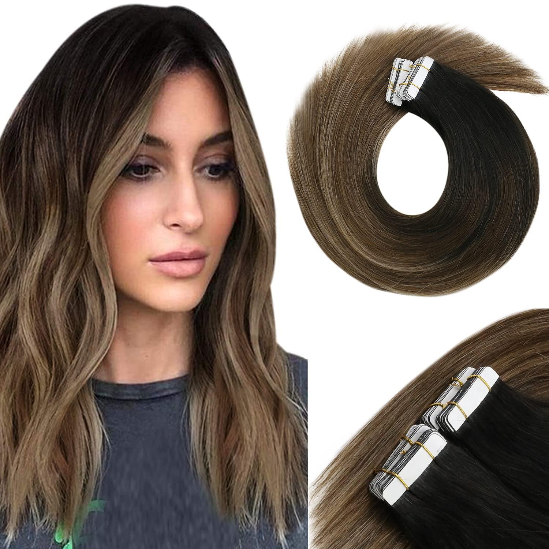 Genuine VeSunny Ombre Brown Black Tape in Human Jet Nashville-Davidson Mall Hair #1B Extensions