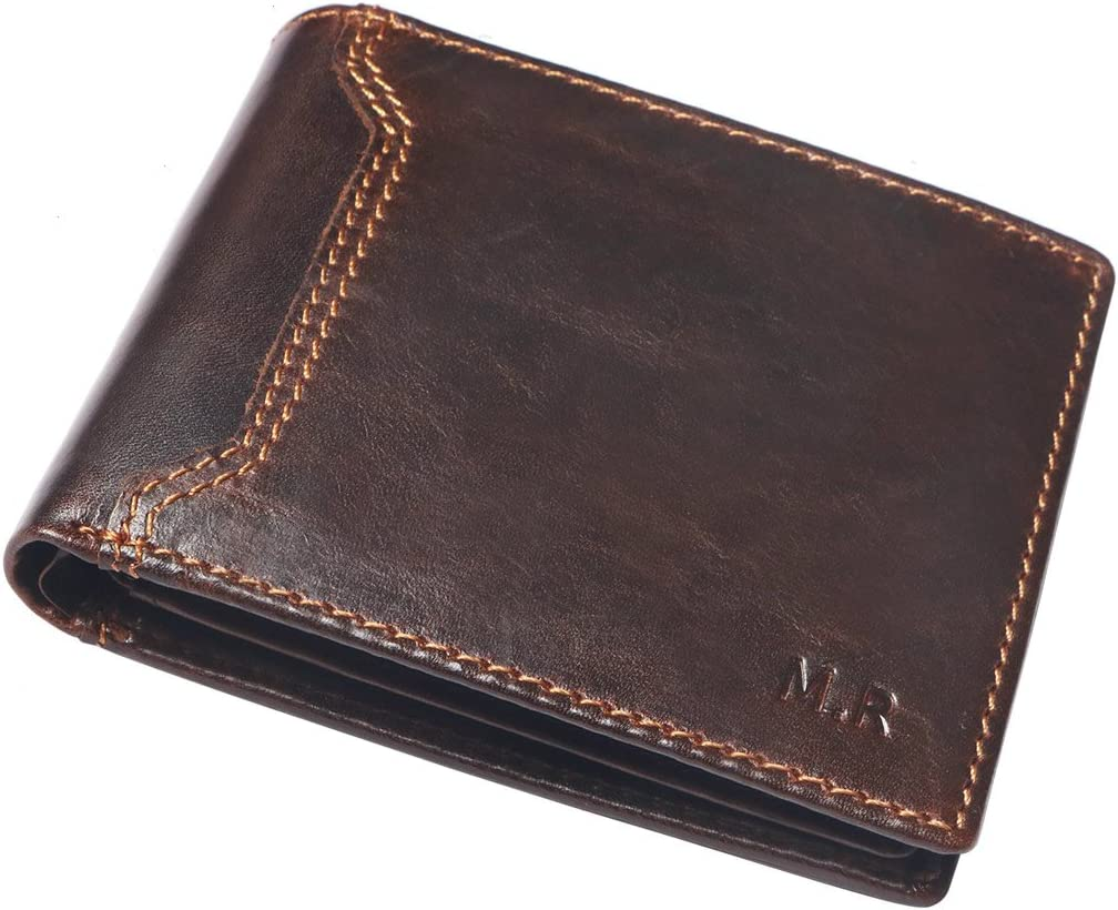 """M.R Mens Leather RFID Wallets with Coin Pocket ID Section """"Meister"""" (Black/Brown)"""