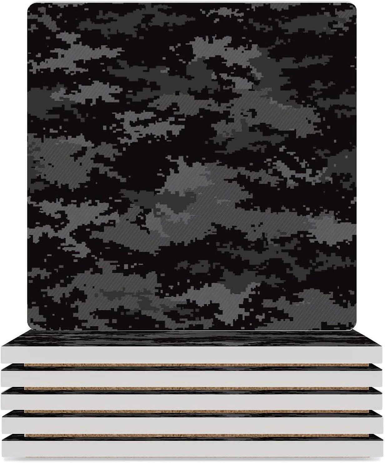 Pixel Camouflage Fresno Mall Stealth Black Absorbent Seasonal Wrap Introduction Drink Coasters Coaster