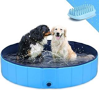 GoStock Piscina para Perros Plegable Mascota Piscina portátil Bañera para niños Gran Mascota Perro Gato PVC Antideslizante para Interiores/Exteriores (Cepillo de baño Adicional para Mascotas) 48
