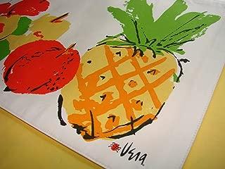 Vera Neumann Ladybug Cotton Placemats, Set of 4, Orange Pineapple Luau Fruit, Vintage Design, Reversible