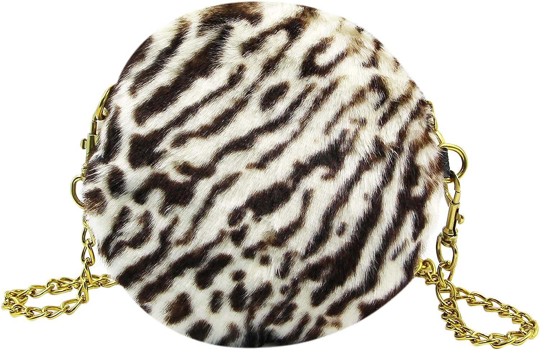 MOSSTYUS Women Fluffy Bombing free shipping Faux Fur Plush overseas Round Wallet Handbag Shape