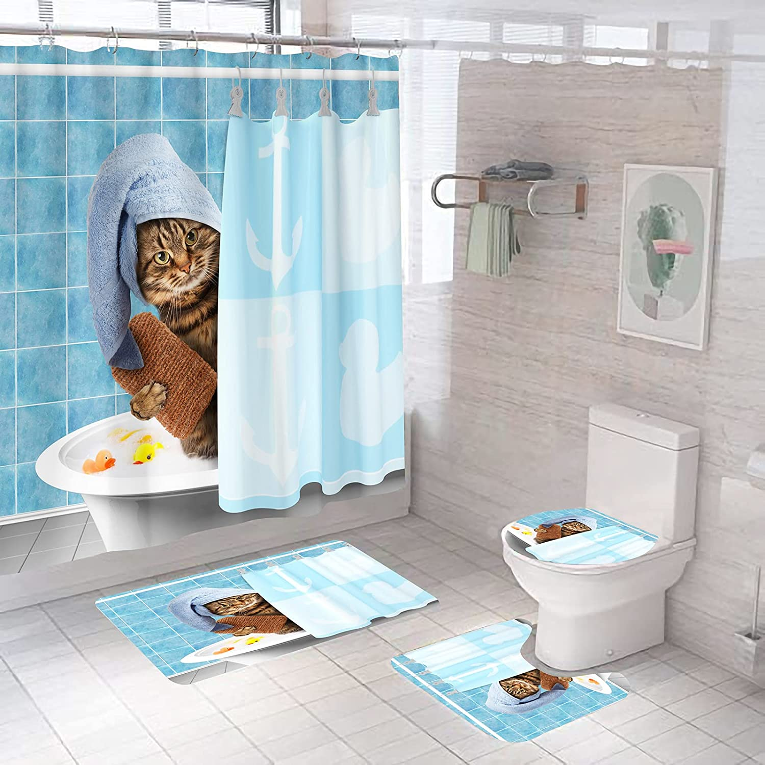Palglg Funny Cat 4 Recommended Piece Limited time sale Curtain Set Cute Curt Shower