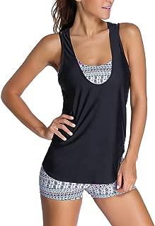 Women's Printed Sporty Tankini Swimsuit with Boyshort 3 Pieces Tankini Sport Bikini Set
