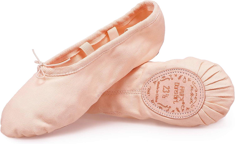 DANSGIRL Canvas Split Sole Ballet Shoes for Women Classic Dancing Shoes Ballet Dance Slippers Adults/Kids(3.5M-12M)