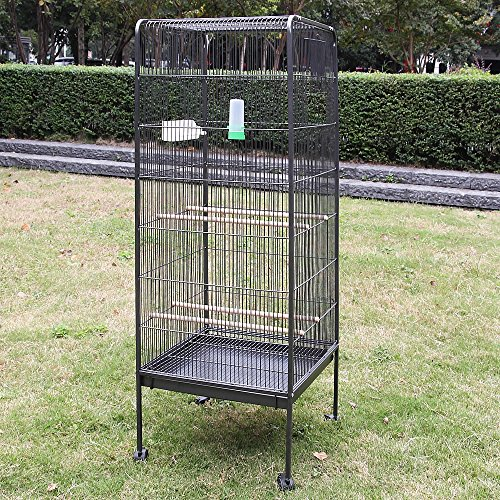 Melko Vogelvoliere groß Vogelhaus 146CM Tierkäfig mit Rollen Zimmervoliere inkl. Sitzstangen und Futternäpfe