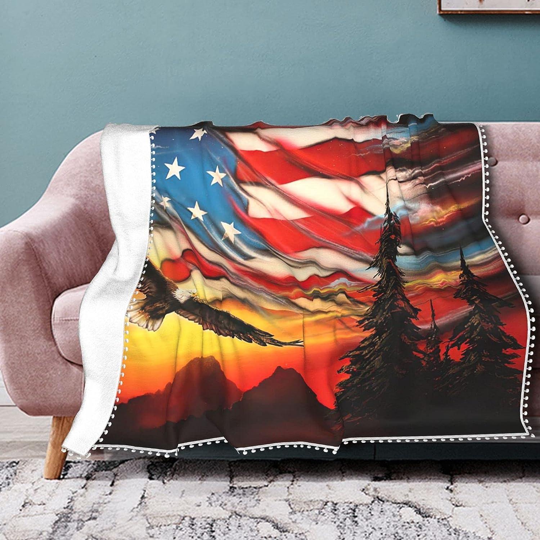 America Flag Eagle Oil Painting wit Ranking TOP1 Fleece Portland Mall Blanket Throw
