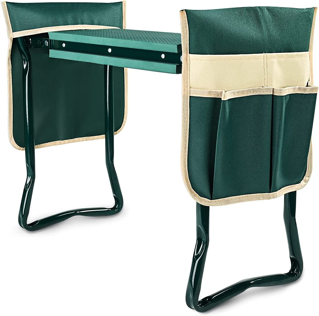 KVR Upgraded Garden Kneeler and Seat with Thicken & Widen Soft Kneeling Pad,Heavy Duty Foldable Gardener Stool with 2 Tool Pouches ,Gardening Gifts for Women Men Seniors