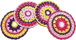 Set 4 posavasos de colores de ganchillo en algodón - Tamaño: ø 11.5 cm - Handmade - ITALY