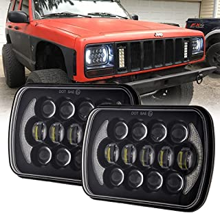 (Pair) 5''x7'' 6''x7'' High Low Beam Led Headlights for Jeep Wrangler YJ Cherokee XJ H6054 H5054 H6054LL 69822 6052 6053 with Angel Eyes DRL (Black 105w Osram Chips)