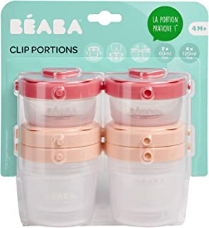 BEABA Clip Containers, Set of 6, 2 oz & 4 oz for Snacks and Baby Food, Rose