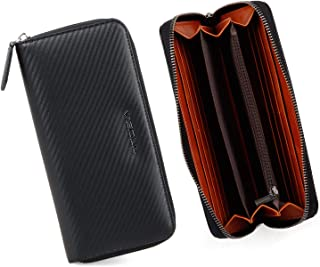 Mens Carbon Fiber Leather Long Wallets with RFID Blocking Leather Clutch Bag for Men Phone Holder Passport Checkbook Walle...