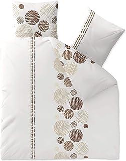 Aqua-Textil Trend Cleo Linge de lit Coton Points Rayures Blanc Marron Beige 200 x 200 cm