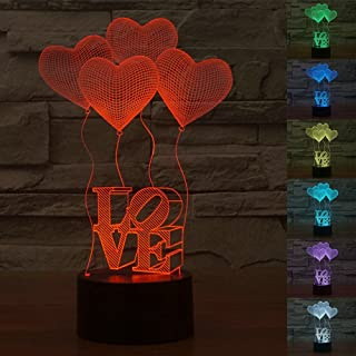 HJIAN 3D Illusion Lamp Desk Table Light Lamp LOVE Lamp Heart Lights 3D Touch 7 Color Night Lamp for Nursery Décor Home Light, Party Decoration (Love)