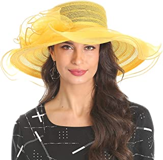 Women's Organza Kentucky Derby Church Dress Hat Fascinator Bridal Wide Brim Tea Party Wedding Hat