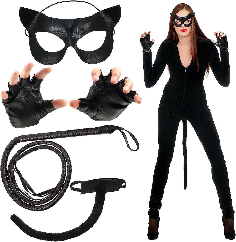 Charlotte Mall Halloween Cat Costume for Women Gloves Whip Tail Detroit Mall Mask