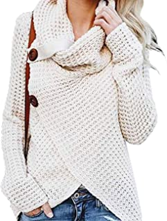 Women's Turtle Cowl Neck Chunky Pullover Sweaters Cable Knitted Irregular Hem Coats with Button