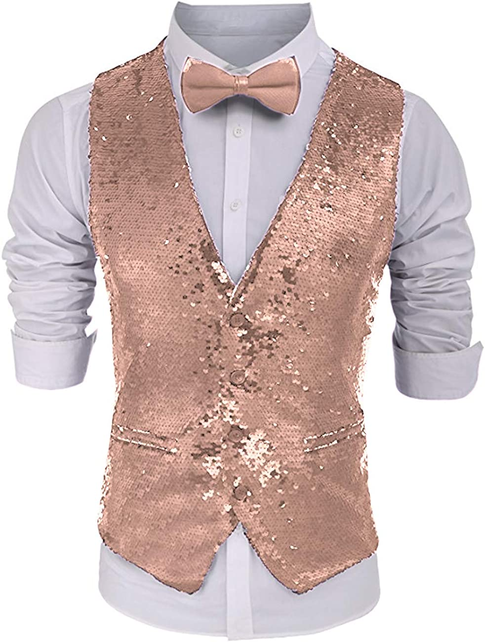 Suxiaoxi Bombing free shipping Men's Shining Sequins Nightclub with Bow Waistcoat Finally popular brand Tie