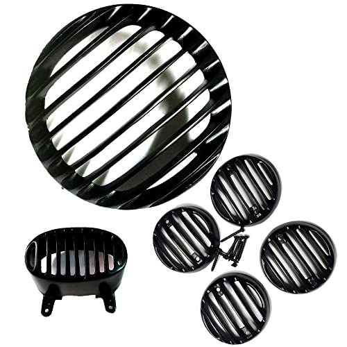 Generic (unbranded) Combo of Heavy Metal Headlight Grill, Indicator Grill Set and Tail Light Grill for Bajaj Avenger 220cc