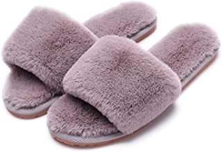 72a79009fe4 Women s Fuzzy Fluffy Furry Fur Slippers Flip Flop Open Toe Cozy House  Sandals Slides Soft Flat