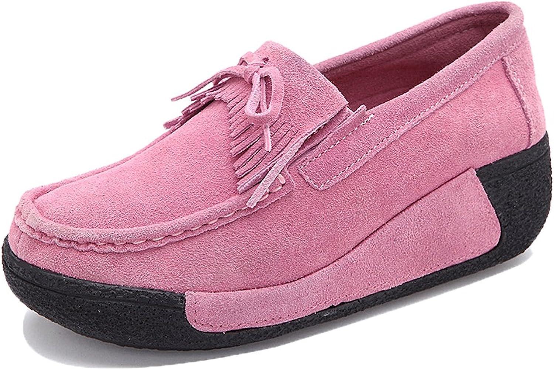 XL1329feihong35 EnllerviiD Women Slip On Wedges Sneakers Fashion Tassel Platform Suede Loafers shoes Pink 5 B(M) US