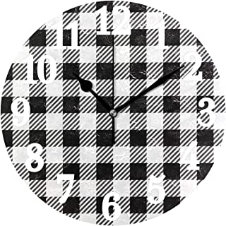 WIHVE Wall Clock Black and White Gingham Buffalo Plaid Silent Non Ticking Round Clocks Battery Operated Easy to Read for Home Office School