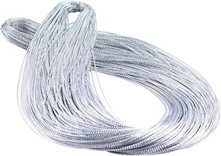 Seventopia Silver Metallic Cord Braided Trim Thin for Ornaments 1 mm Jewelry Thread Ribbon - 109 Yards