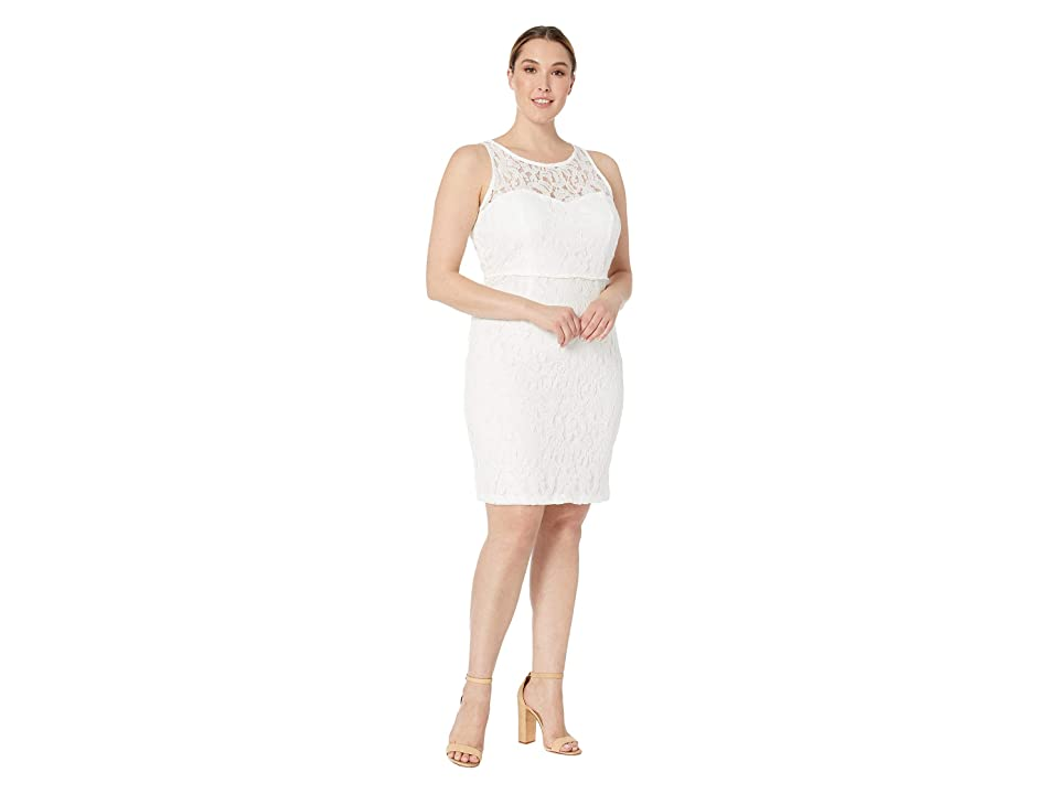 MARINA Short A-Line Sleeveless Dress with Cut in Neckline and Back Keyhole (White) Women