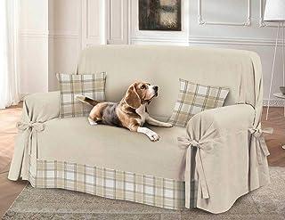HomeLife – Funda de sofá de 2 o 3 plazas – Funda de sofá de color liso con inserto escocés – Funda de algodón para cubrir y proteger del polvo, manchas, pelos de perros y gatos. Fabricado en Italia.